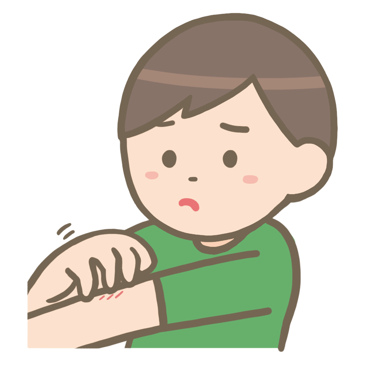 腕を掻く男性のイラスト